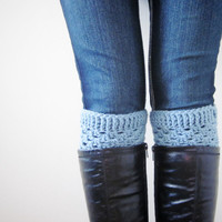 Crochet Boot Cuffs Luxe Cuffs Socks Boot Toppers in Cool Blue