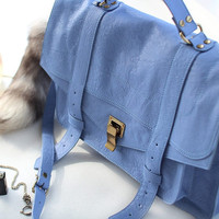 New Arrival - PS1 PONCHO GoatSkin Version ( Handbag/Tote bag/Shoulder bag/purse/leather handbag - Blue Color)