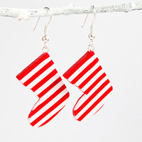 Red white striped stocking earrings - Christmas jewelry