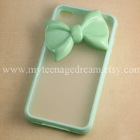 Iphone 4 Case, lovely big mint green bow iphone 4s Hard Case iPhone Case 4 mint green side clear case