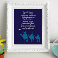 Silent Night Christmas Print 8 x 10