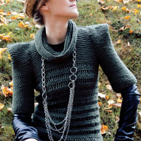 Olive green military elegant women autumn fashion winter hand knit sweater, modern triangle geometric origami /Khaki Chic 2/