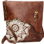 Boho Leather Messenger Bag with Crochet Lace &amp; Antique Key - XL Deluxe MADE to ORDER