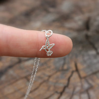 Hummingbird necklace - tiny sterling silver hummingbird . sterling silver chain . simple, modern charm jewelry