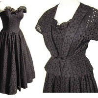Vintage 50s Dress Black Eyelet Rockabilly by metroretrovintage
