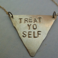 stamped triangle necklace, treat yourself