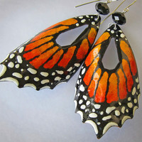 Orange Butterfly Earrings Extra Large by OxOriginalArtJewelry
