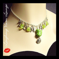Zombie Necklace With Brains And Flesh by LaughingVixenLounge