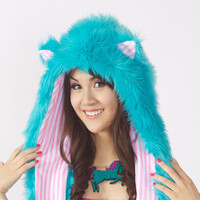 Teal Furry Animal Hoodie w/ Pink and White by HappyHoodieFriends