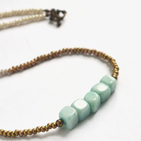 Tribal Aqua Stone Necklace. Blue Stone Jewelry. Chunky Blue Stone Necklace. Beaded Necklace