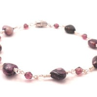 Charoite Chain Bracelet - Purple Hearts with Matching Purple Bicones