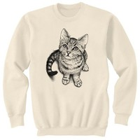 Curious Kitten Cat Art Sweatshirt Ultra Cotton Small - 2XL