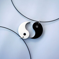 His/Hers &amp; Best Friends Ying Yang Acrylic Plastic Necklace Charms