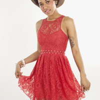Red Lace Sweetheart Dress with Cutout Lace Up Waist