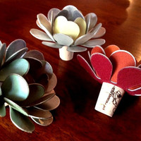 Bottle Blooms Handmade Flower Wine Stopper Candle Holder Red - Orange or Ivory - White or Green - Teal