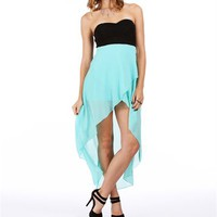 Black/Teal Mint Hi Lo Homecoming Dress