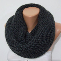 CHUNKY Scarf - Elegant and soft  Infinity Scarf  Circle Scarf   Knit Fall Scarf  Dark gray