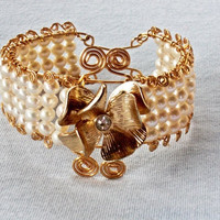 Gold Cuff Bracelet with Fresh Water Pearls