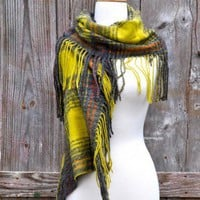 Echo Yellow & Grey Plaid Scarf
