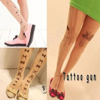 Sexy Gun Star Tattoo Socks Transparent Pantyhose Stockings Tights Leggings