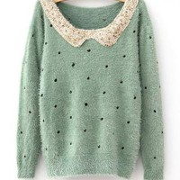 Sequin Collar Polkadot Fluffy Sweater - 1