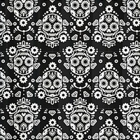 Sugar Skull Damask Shower Curtain