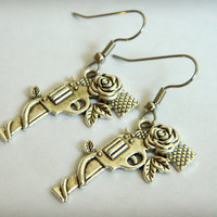 Gun/Pistol Roses Dangle Earrings