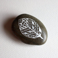 Painted Leaf Stone - Patterned Leaf Original Hand-Painted Large Stone - Nature Art