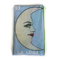 LA LUNA Mexican Loteria Makeup Bag - School Supply Pouch - Pencil Bag