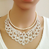 Shantay Statement Bridal Necklace, Crystal Bib Necklace, Hollywood, Chunky, Victorian Necklace, Wedding Necklace