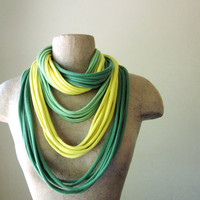 STANDARD cotton scarf necklace lemon lime by EcoShag on Etsy