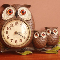 Vintage New Haven Owl & Babies Wall Clock Burwood Germany 1972