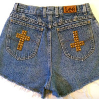 VTG 80s Super High Waist Good vs. Evil CROSS Studded LEE Denim Shorts 27 in.