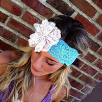 Lace Flower Headband Aqua Stretchy Head bands- Lace Bridal Wedding Headband with Lace Rosette and Pearls
