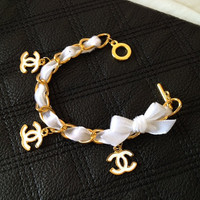White Velvet Chanel Inspired Charm Bracelet with White Velvet Bow