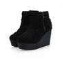 Black Wedge Ankle Boots with Side Zip Closure and Wrap Belt Detail