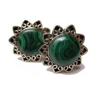 Sea Flower of Green Cufflinks Malachite and Sterling Silver