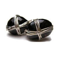 Wrapped Stone Onyx and Sterling Silver Cufflinks