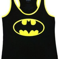 Amazon.com: Batman Emblem Logo Juniors Black Racer Tank: Clothing