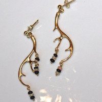 Antler Earrings Black White Ethiopian Opal Gold Vermeil Dangle Earrings Handmade Gemstone Jewelry