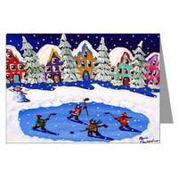 Hockey Players Ice Skate Greeting Cards (Pk of 20)> Greeting Cards Post Cards Note Cards> Renie Britenbucher Artwork