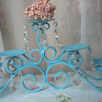 Aqua Vintage Wrought Iron Fireplace Chandelier Candelabra Candle Holder Candleholder Chandelier Crystals Shabby Chic Cottage Style