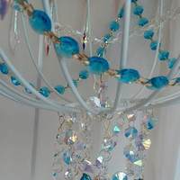 Faux Chandelier Aqua Turquoise and Rainbow Chandelier Crystals Crystal AB Icicle Crystals Ice Blue Ocean Blue Crystal Chandelier