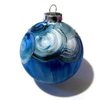 Hand Painted Blue Christmas Tree Ornament, Holiday Ornament, Tree Decoration, Tree Bulb