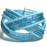 Braided Cuff Bracelet Teal Blue Beaded Cuff Bracelet