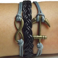 Unisex  Fashion  Ancient bronze Infinite hope and anchor bracelet-- black and gray Wax rope Braided leather bracelet
