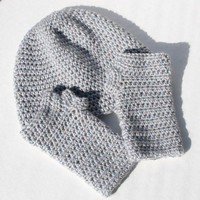 Grey Fingerless Gloves Hat Set Sparkle Yarn