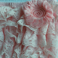 Light pink lace romper with removable pink shabby clip that can be worn in your hair, perfect for birtthday, picture or everyday wear