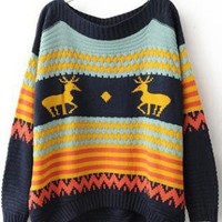 Elk Embroidered Sweater Blue S003274