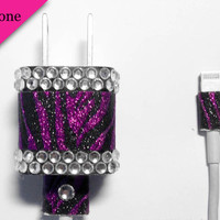 iPhone 5 Purple Zebra Glitter & Rhinestone USB Charger and Cord